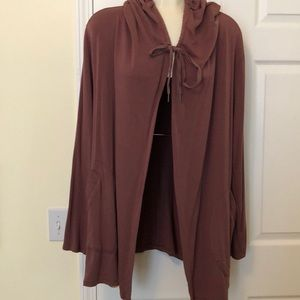 Long hoodie cardigan in soft cocoa Size XL